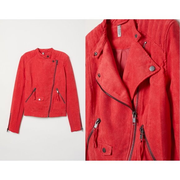 H&M Jackets & Blazers - H&M Raspberry Red Faux Suede Biker Jacket